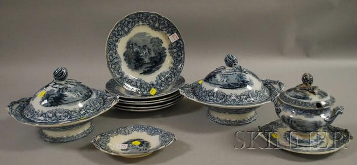 Eleven-piece Ridgways Transfer Warwick Pattern Ceramic Partial Dinner Set.