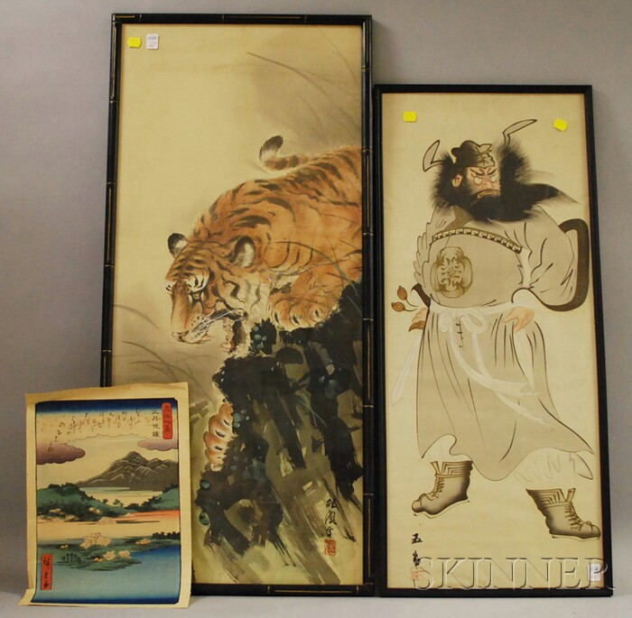 Two Framed Japanese Paintings on Silk and an Unframed Woodblock Print