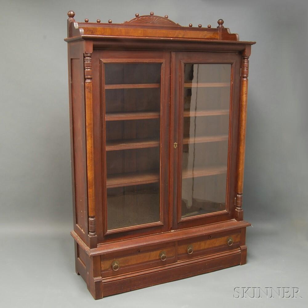 Walnut Late Victorian Two-door Bookcase