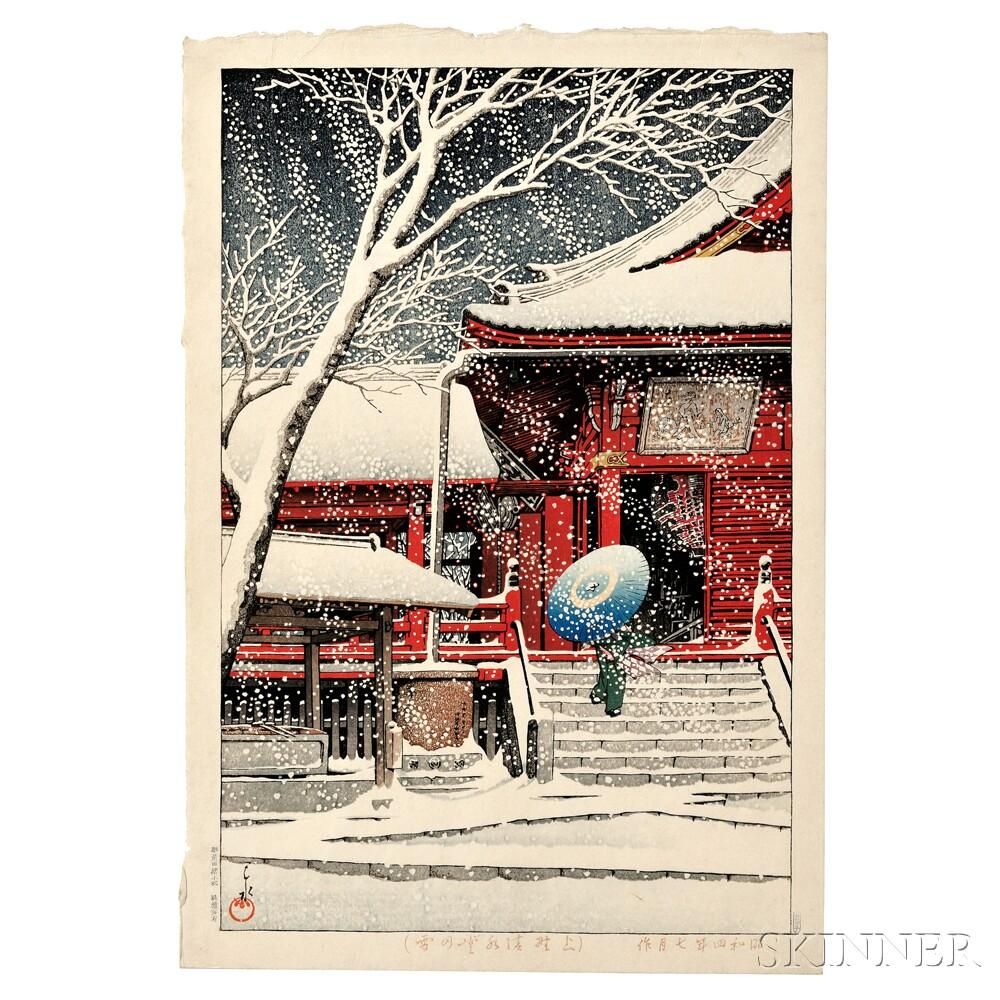 Kawase Hasui (1883-1957), Snow at Kiyomizu Temple, Ueno