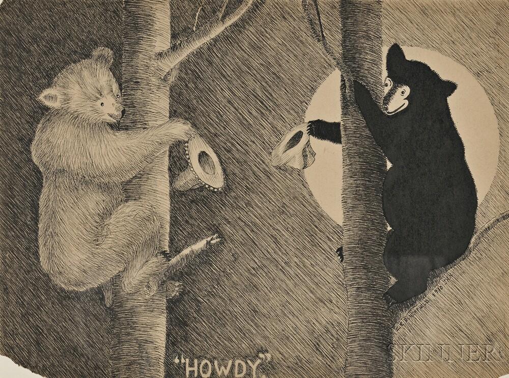 Charles Ephraim Burchfield (American, 1893-1967)      Three Ink Drawings:  Lucky Birds ,  Forgotten