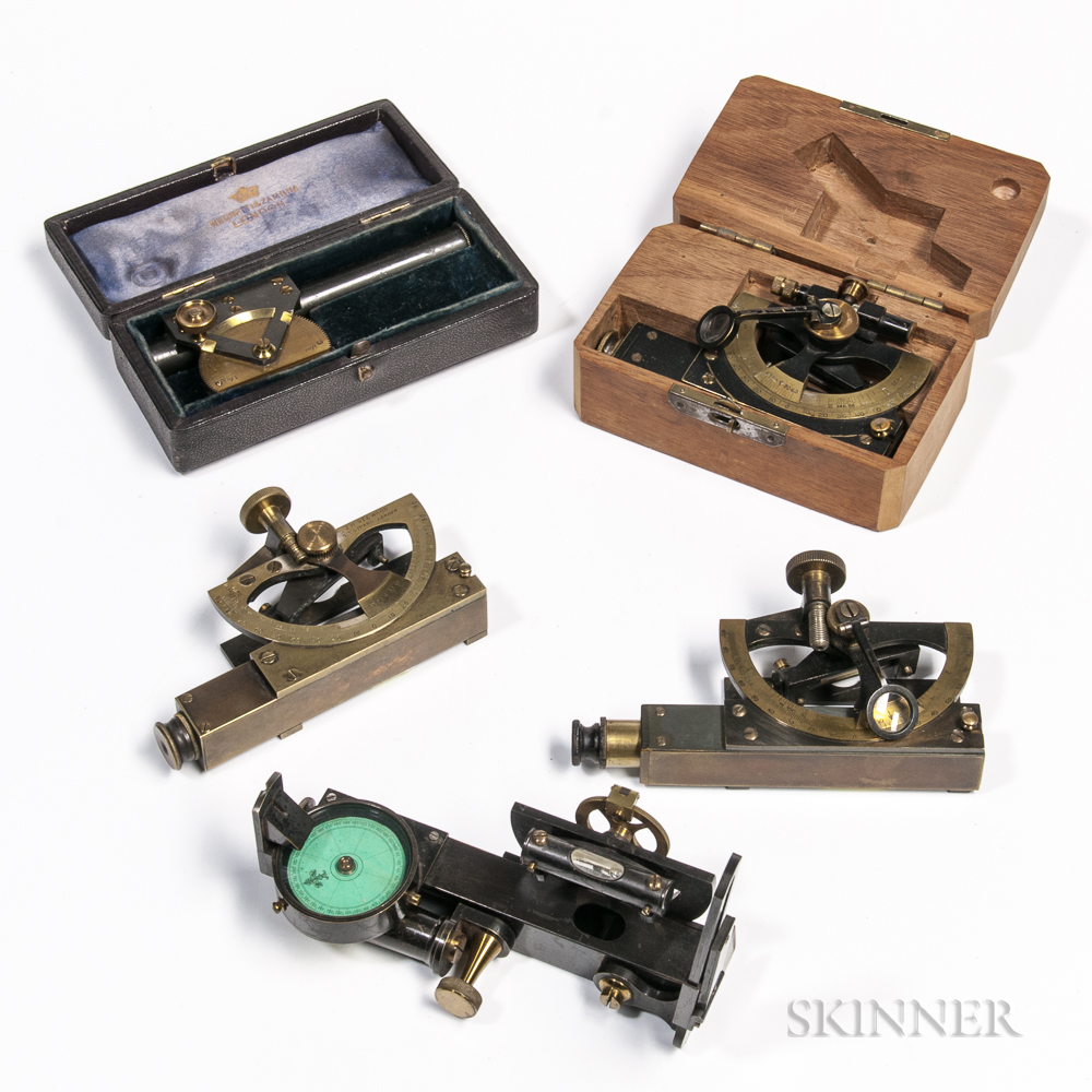 Five Abney Level Clinometers by Various Makers