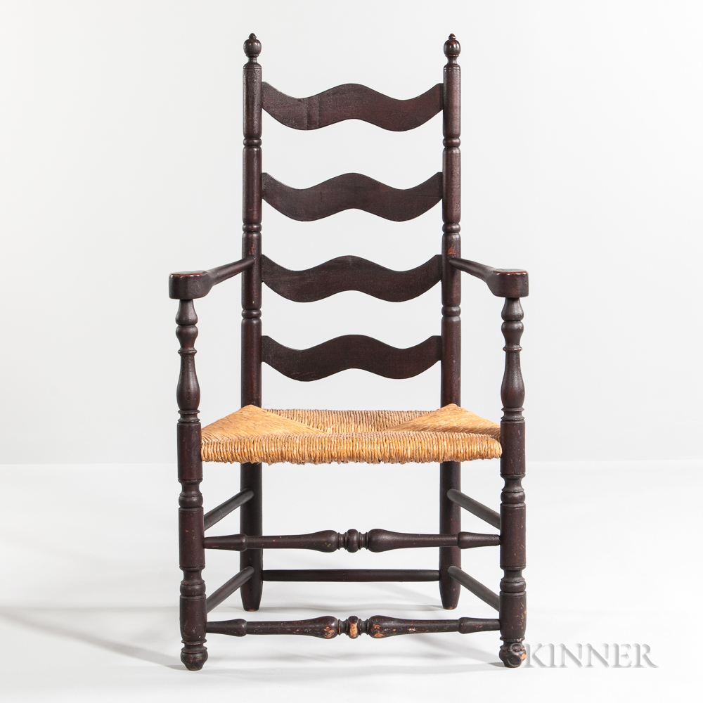 Red/brown-painted Slat-back Armchair