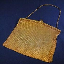 Edwardian 14kt Gold Mesh Bag, Beline & Glaser