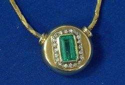 14 kt. Gold, Emerald and Diamond Pendant Necklace