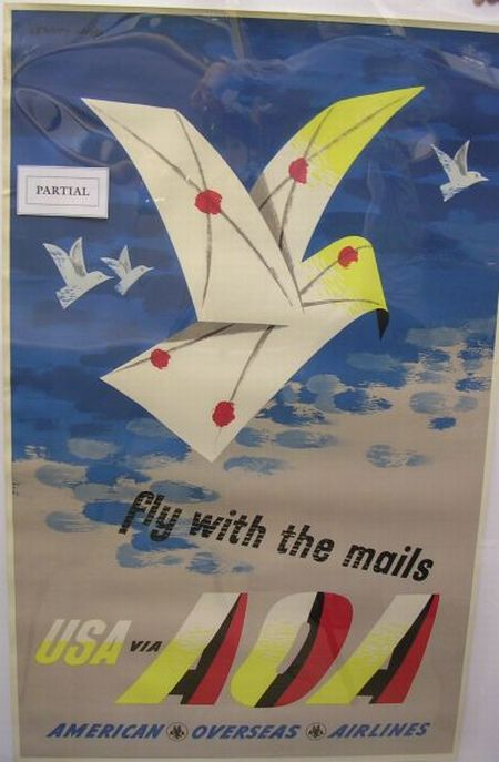 Four Lewitt-Him American Overseas Airlines Aviation Posters