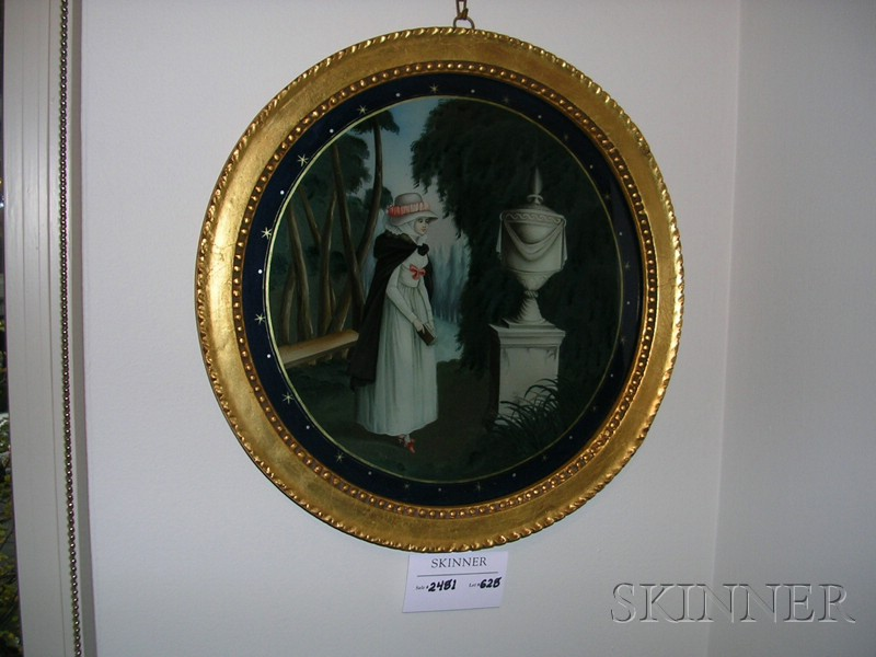 Decorative Reverse Painting on Glass Depicting a Mourning Scene