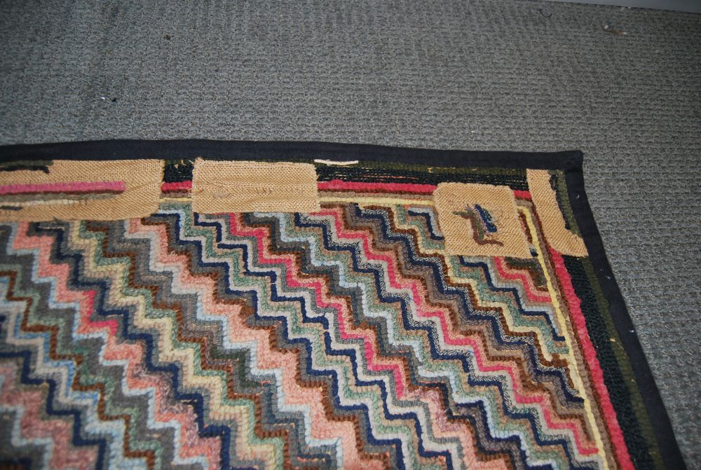 Two Geometric Hooked Rugs