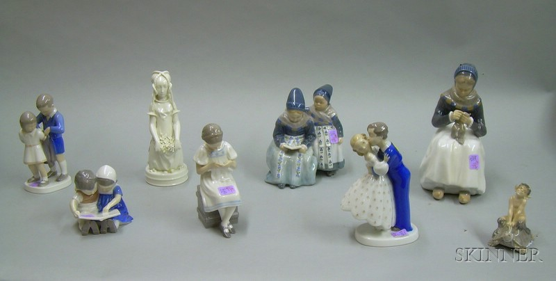 Four Royal Copenhagen and Four Bing & Grondahl Porcelain Figures and Figural Groups