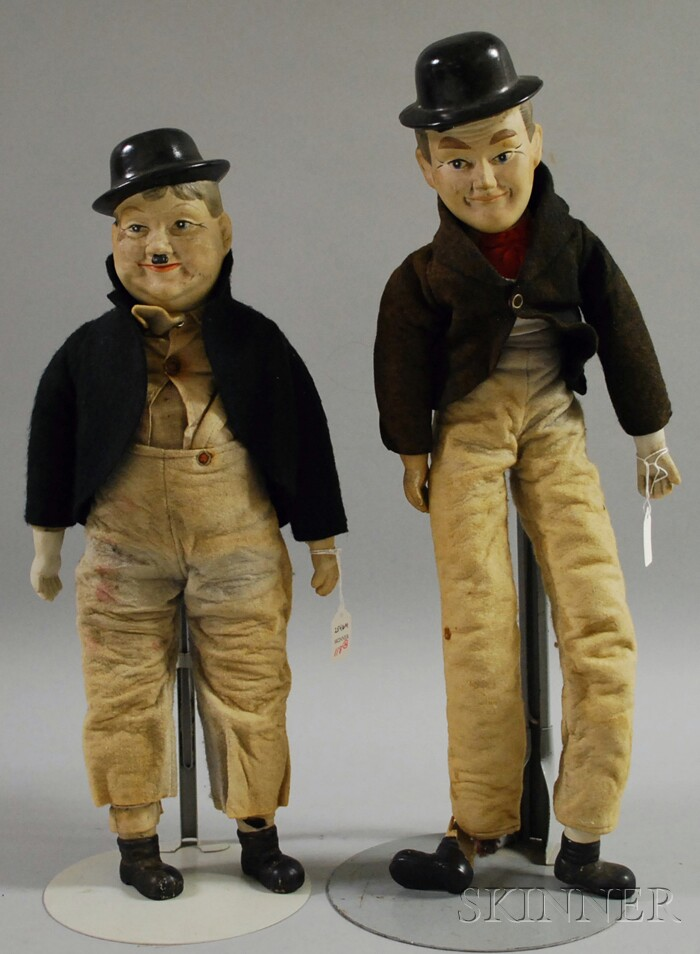 Laurel and Hardy Character Painted Bisque Shoulder Head Dolls