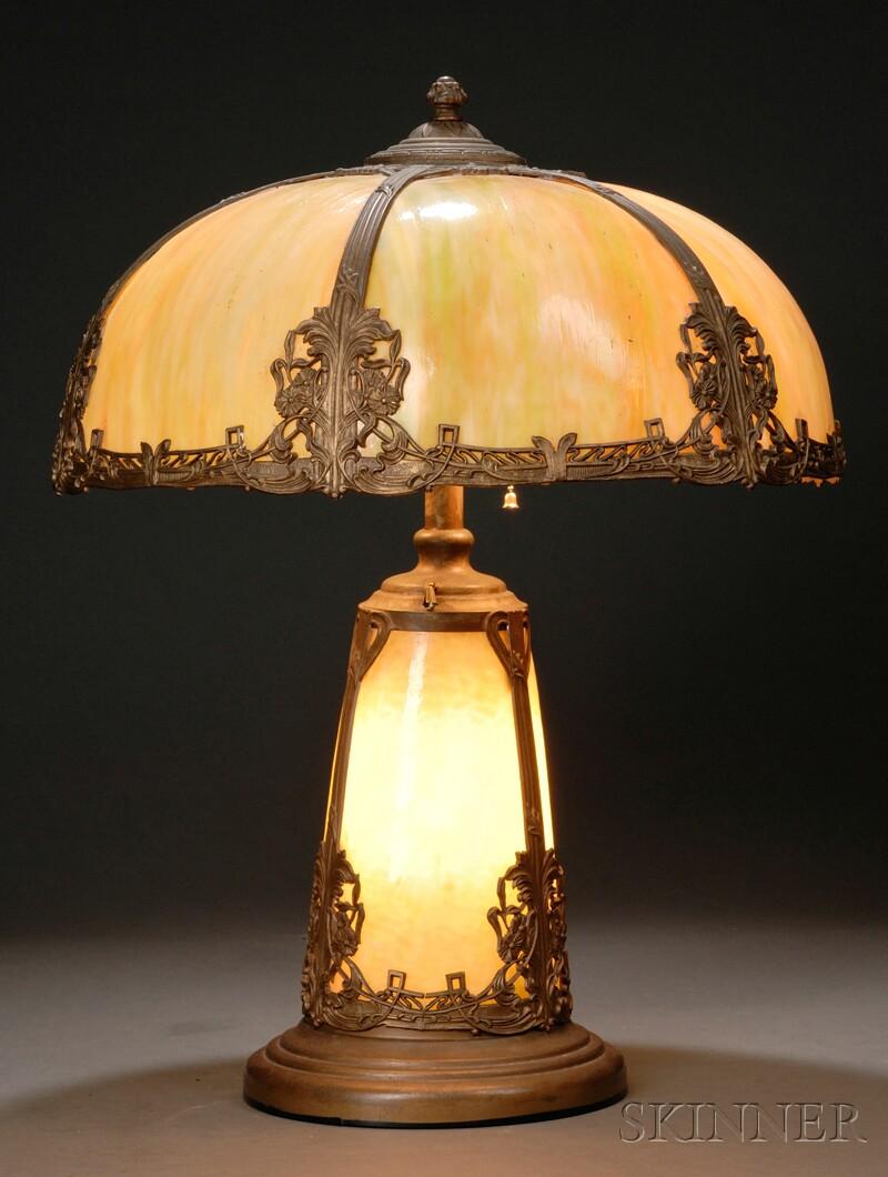 Metal Overlay Slag Glass Table Lamp