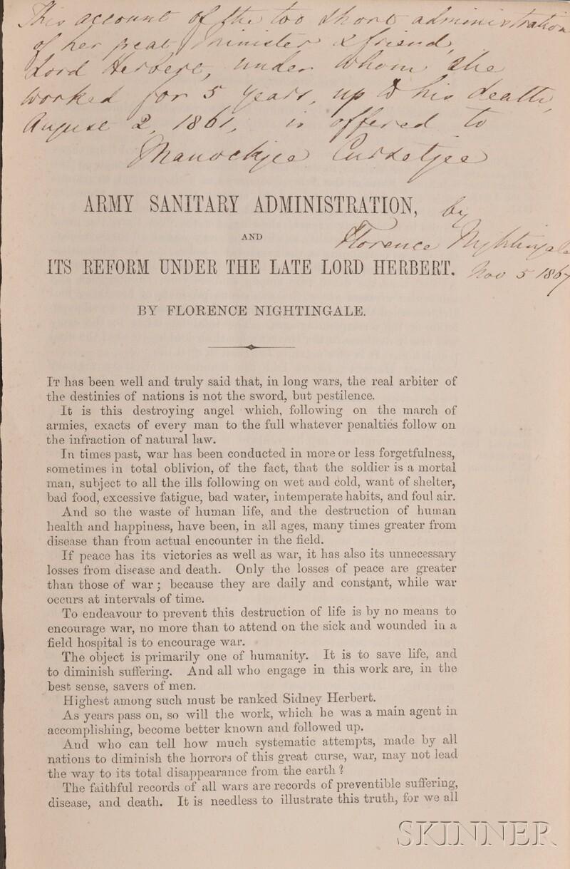Nightingale, Florence (1820-1910), Presentation copy