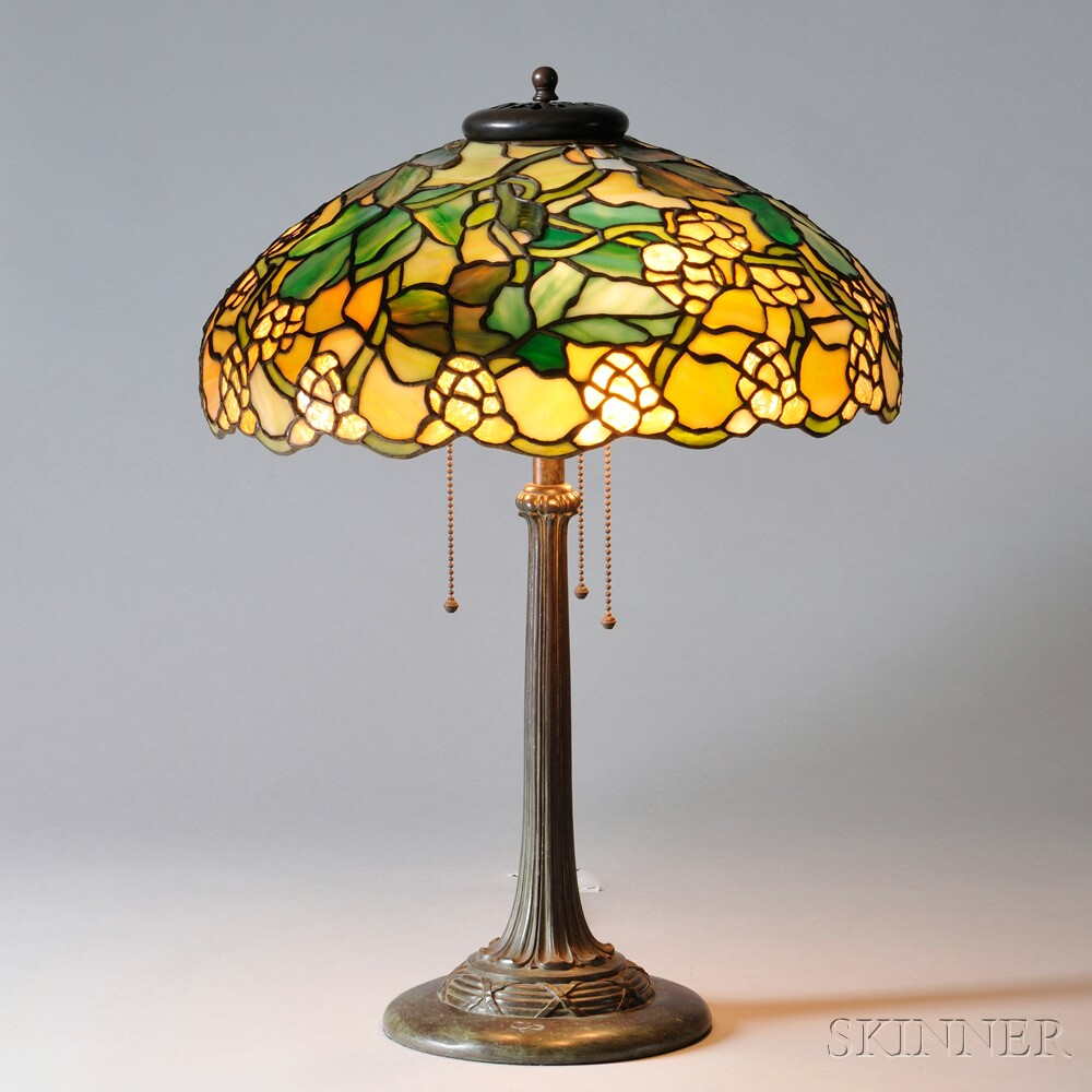 """Mosaic Glass """"Roman"""" Table Lamp Attributed to Duffner & Kimberly"""