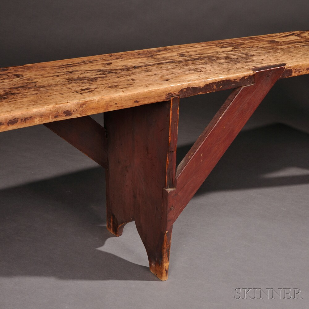Shaker Brown/Red-painted Pine Meetinghouse Bench