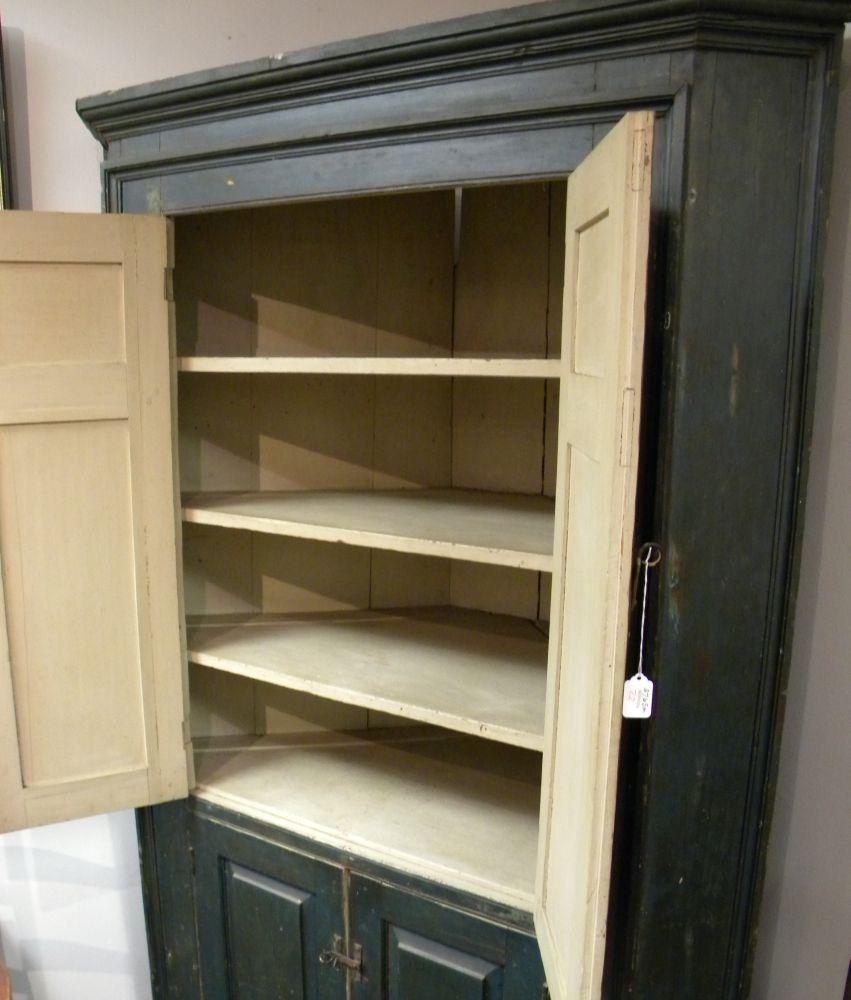 Blue Painted Pine Corner Cupboard Sale Number 2765m Lot