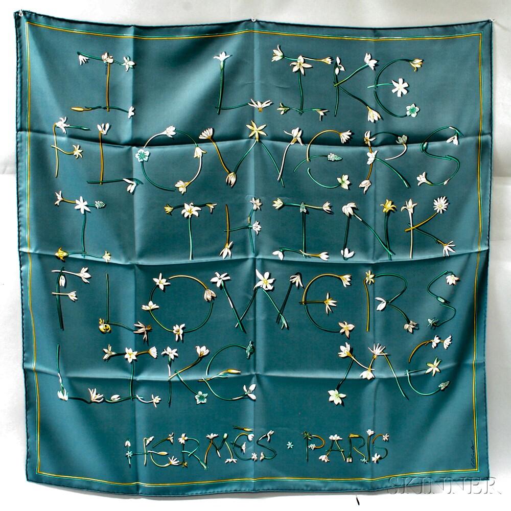 hermes i like flowers i think flowers like me silk scarf sale number 2911t lot number. Black Bedroom Furniture Sets. Home Design Ideas
