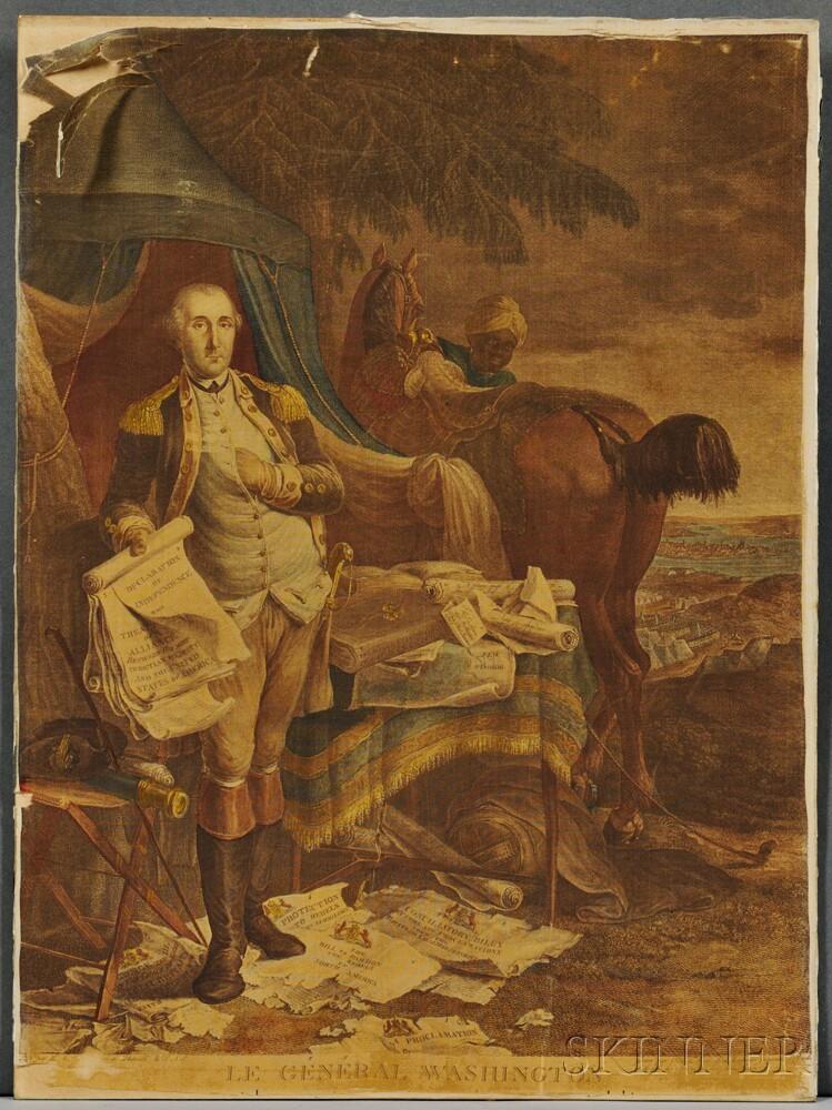 Washington, George (1732-1799) Hand-colored Engraved Portrait on Silk, Le General Washington.