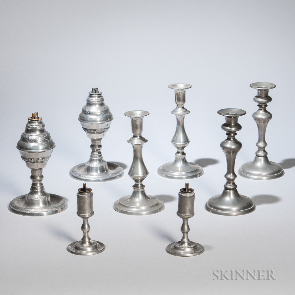 Two Pairs of Pewter Whale Oil Lamps and Two Pairs of Pewter Candlesticks