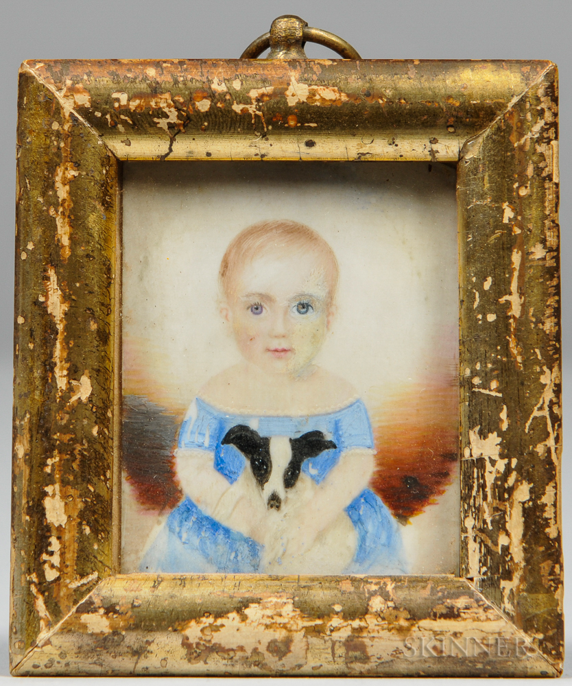 Attributed Clarissa Peters Russell (Massachusetts, 1809-1854)      Miniature Portrait of a Child in a Blue Dress Holding a Dog