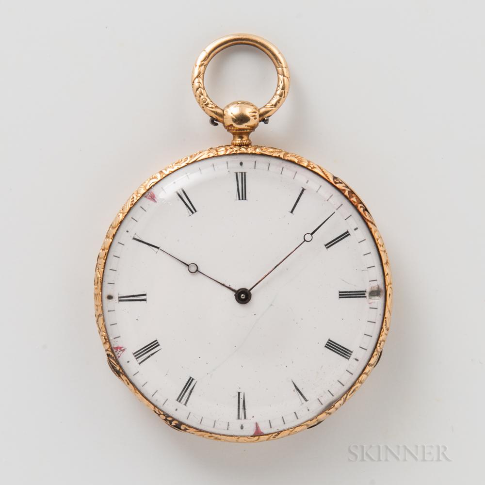 Swiss 18kt Gold Open-face Watch