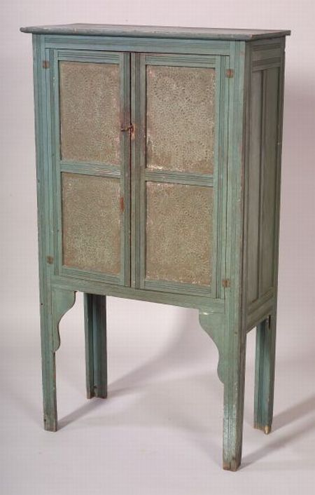 Blue Painted Poplar, Yellow Pine, and Tin Pie Safe
