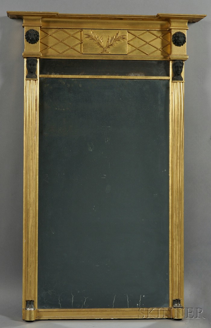 Empire-style Giltwood, Gilt-gesso, and Part-ebonized Pier Mirror