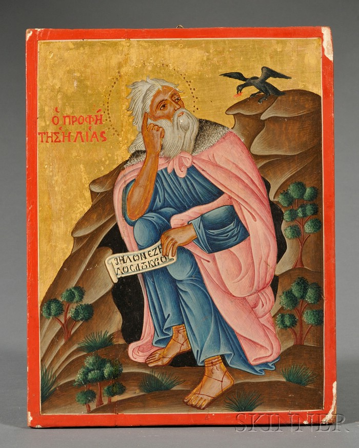 Greek Icon of St. Elijah in the Wilderness
