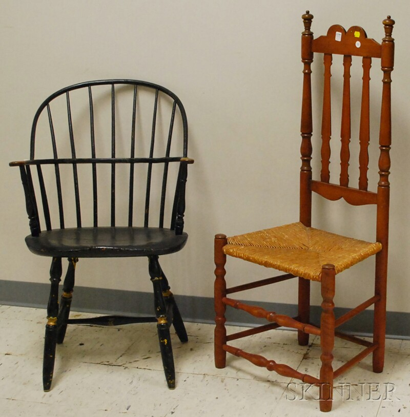 Bannister-back Side Chair with Woven Rush Seat.