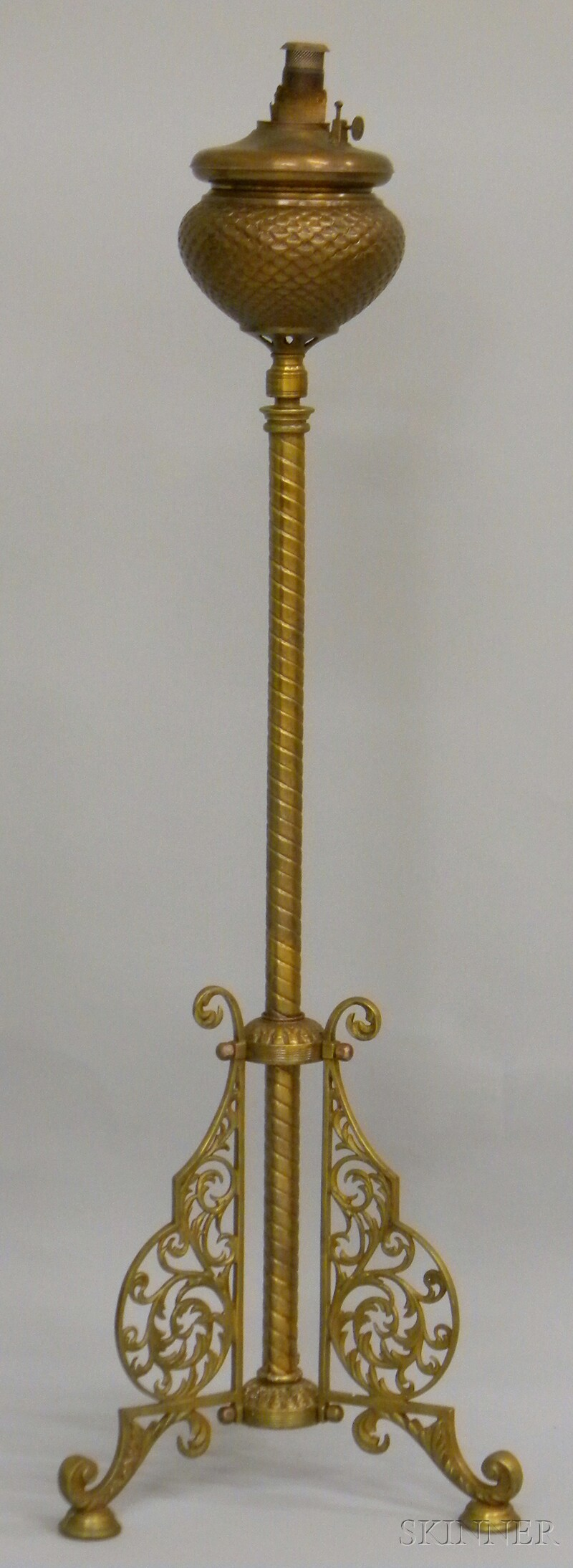 Royal Late Victorian Brass Kerosene Floor Lamp.