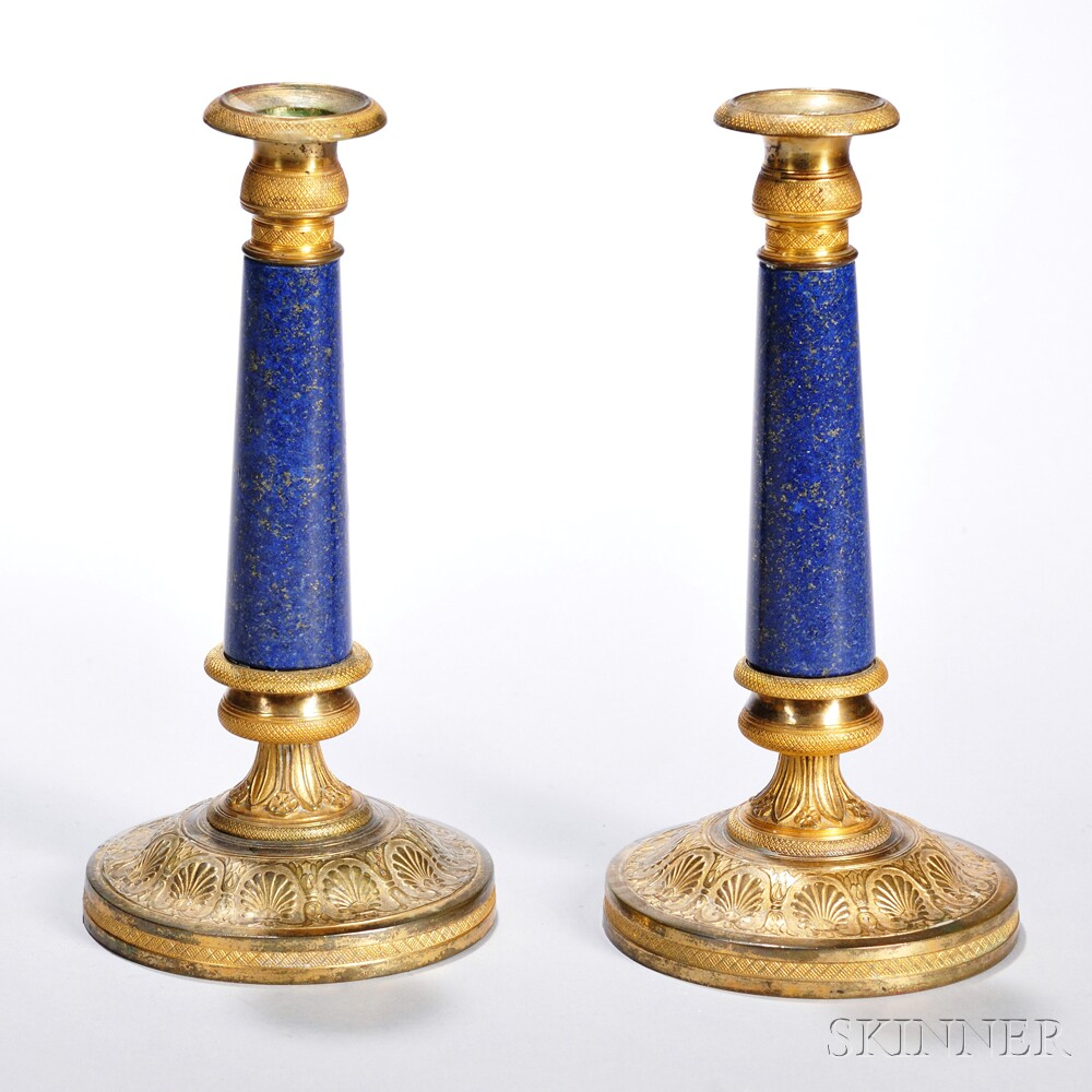 Pair of Empire Revival Lapis Lazuli and Brass Candlesticks