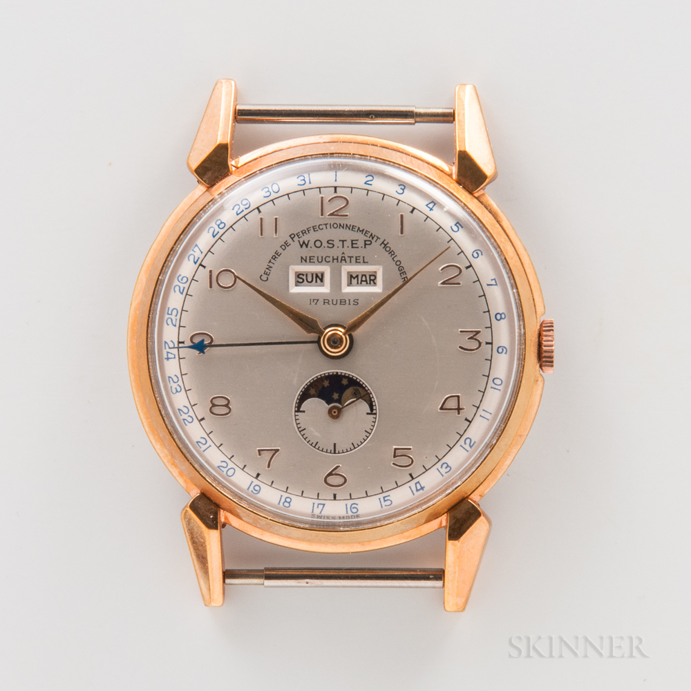 WOSTEP Triple Date Moon Phase Wristwatch