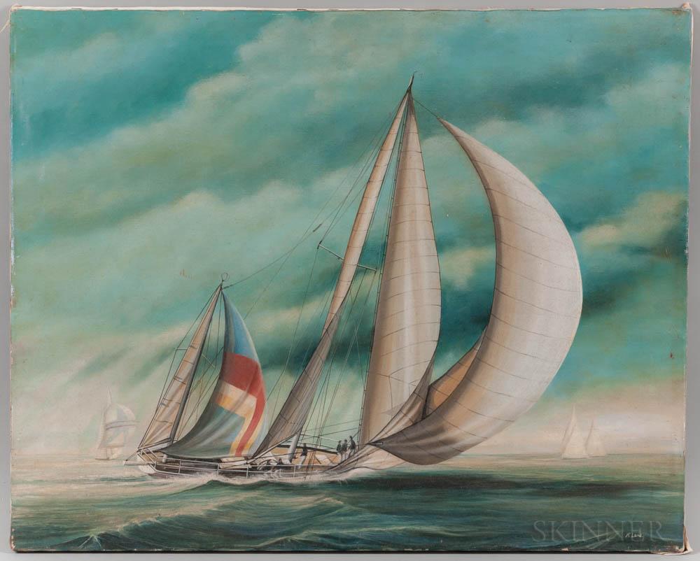Richard Lane (American, 20th Century)      Sailboat Racing
