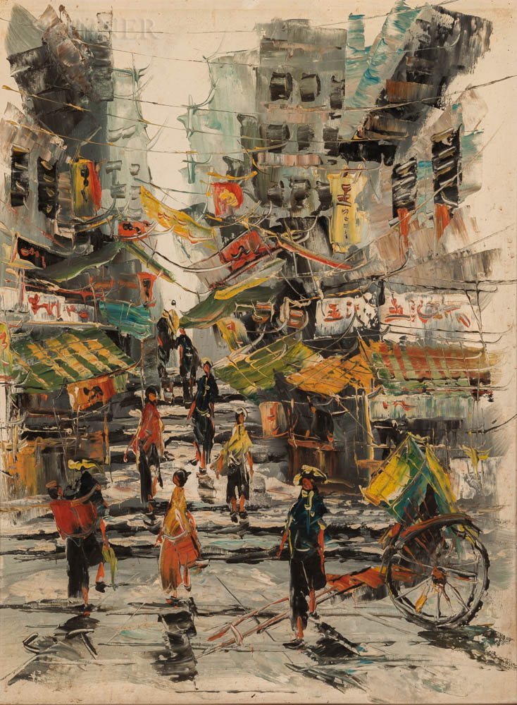 American/Asian School, 20th Century      Asian Street Scene with Flags