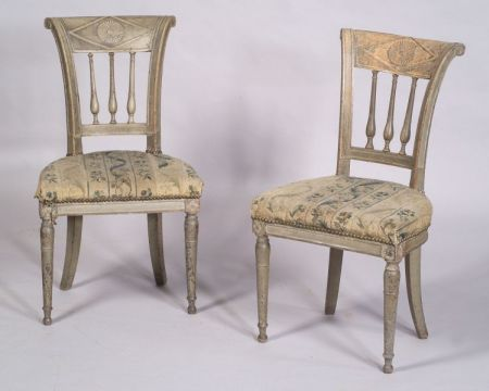 Pair of  French Empire Painted Side Chairs