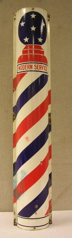 """Enamel Porcelain """"Modern Service"""" Barber's Trade Pole Sign"""