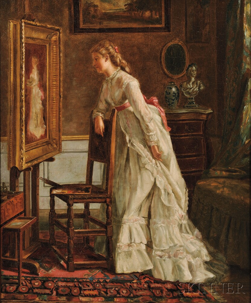 Eleanor Cunningham Bannister (American, 1858-1939)    Admiring Her Own Portrait/A Self Portrait