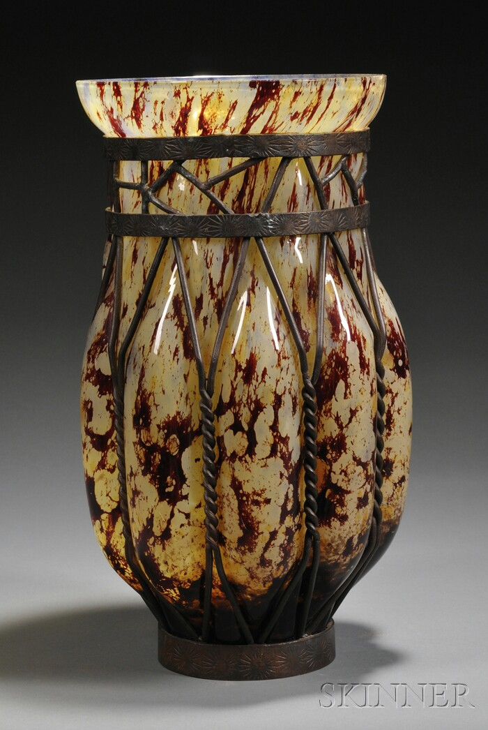 Blown-out Art Glass and Metal Vase