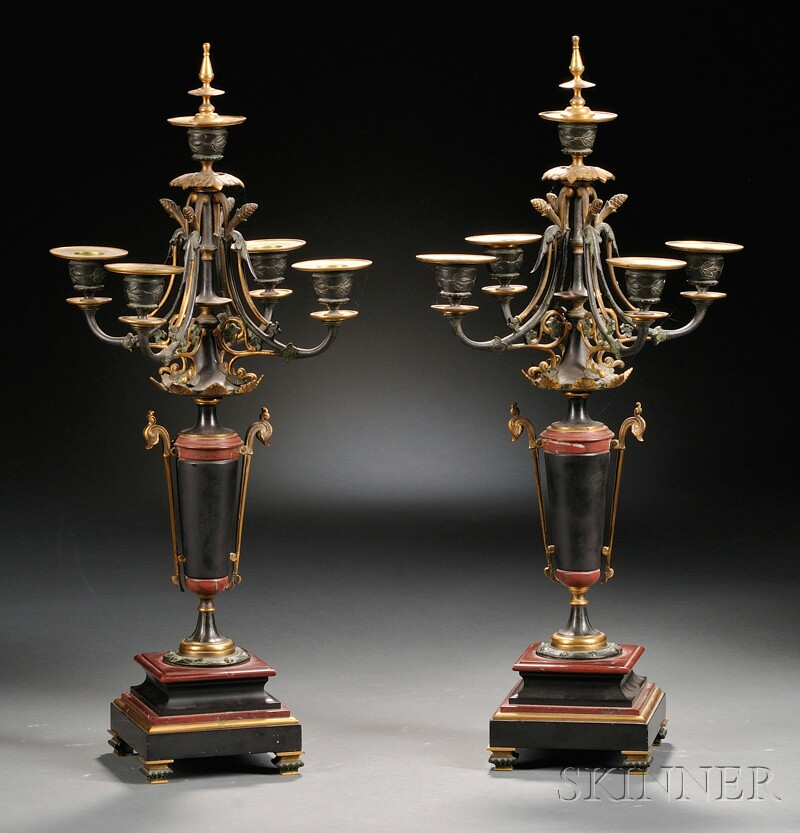 Pair of Gilt-metal and Marble Five-light Candelabra