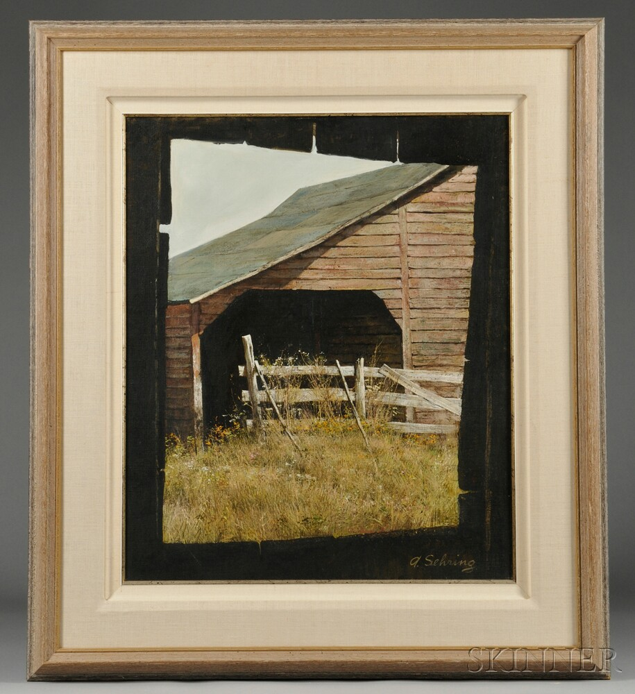 Adolf sehring american b 1930 view of a new england for New england barns for sale