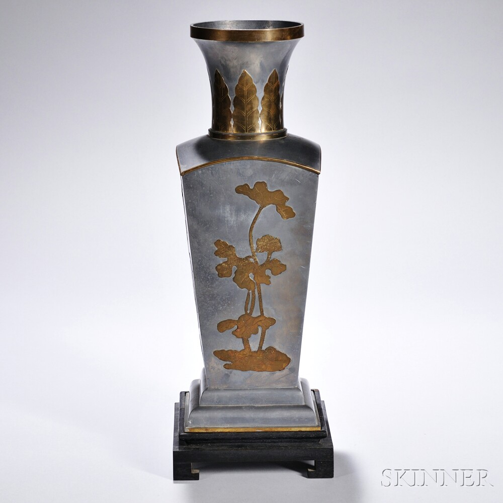 Tall Square Pewter Vase