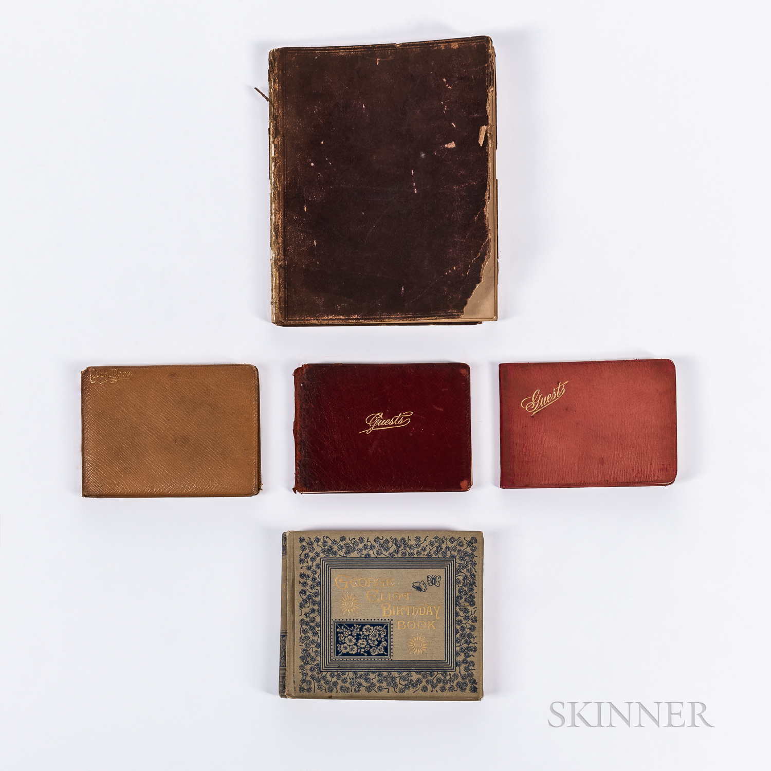 Four Batchelder Guest Books and a Birthday Book,   1881-1928.