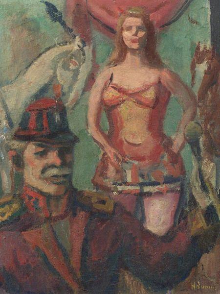 Gerrit Hondius (Dutch/American, 1891-1970)  Circus Preformers.