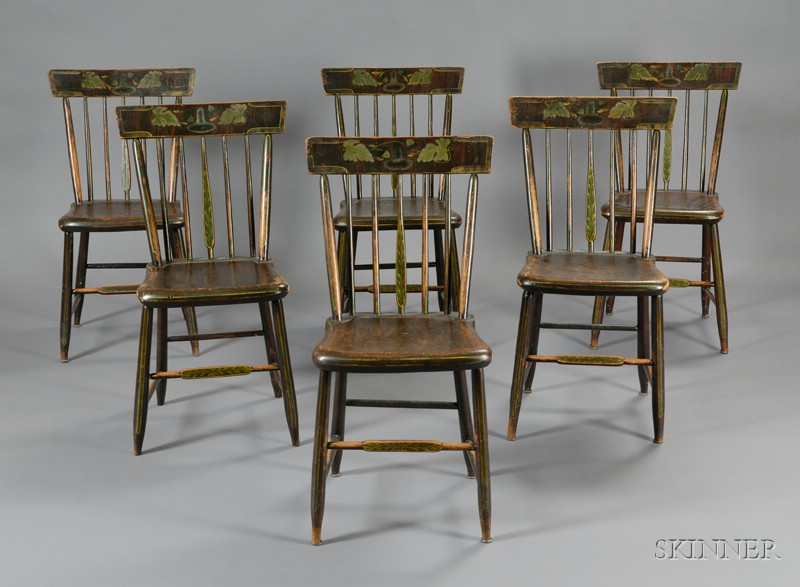 Set of Six Paint-decorated and Stenciled fancy Chairs