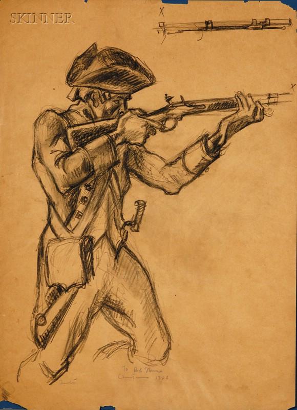 Thomas Hart Benton  (American, 1889-1975)      Portrait of a Militiaman / Study for Struggle for the Wilderness