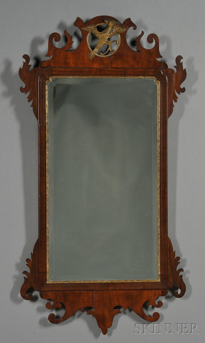 Chippendale Parcel-gilt Mahogany Scroll Mirror