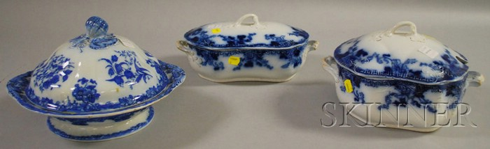 Hughes & Son Flow Blue Cover Tureen and Covered Serving Bowl, and a Davenport Venetian Pattern Ceramic Covered Serving Bowl.