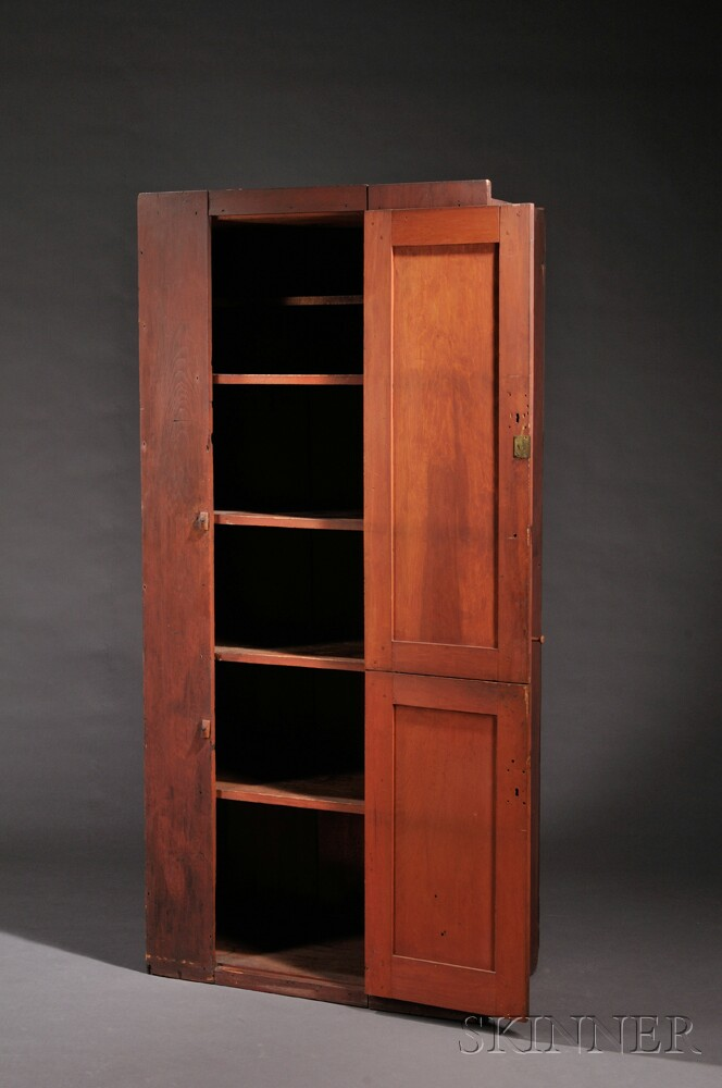 Shaker Pine Red-painted Two-Door Cupboard