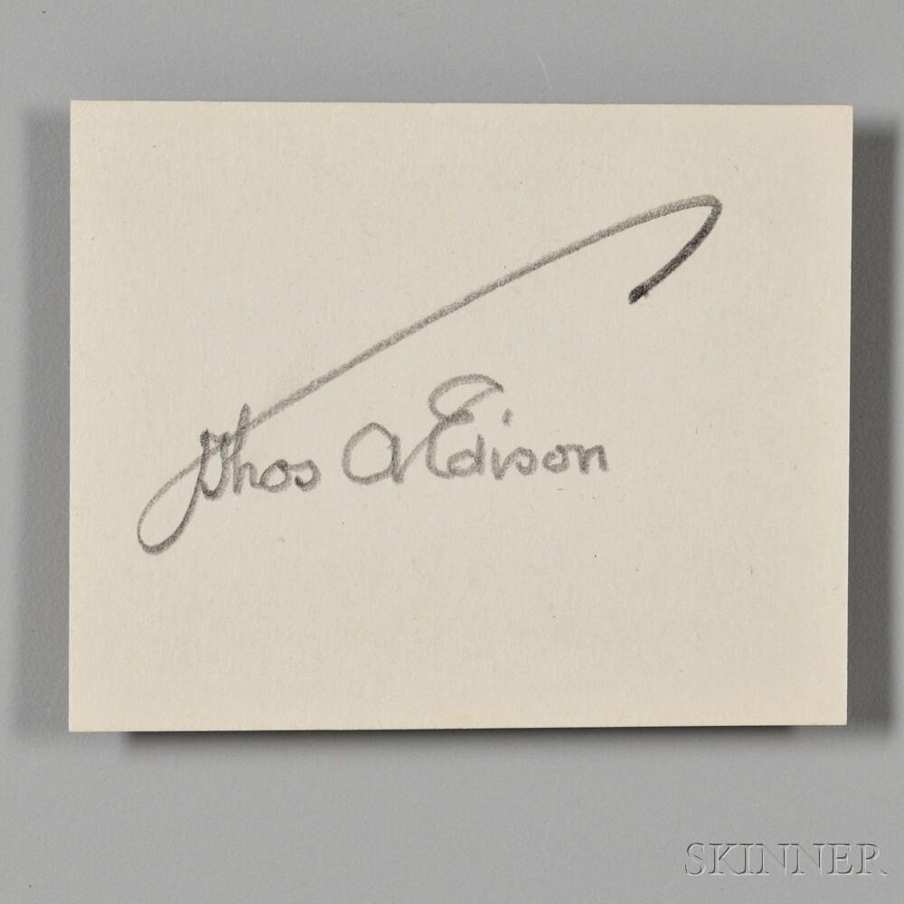 Edison, Thomas Alva (1847-1931) Clipped Signature.
