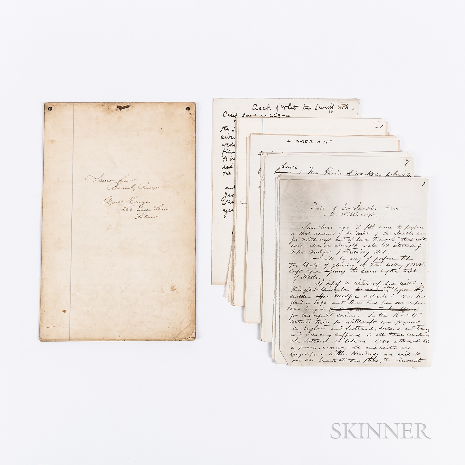 Manuscript Play Scenes from Barnaby Rudge by Osgood Hodges and a Manuscript History of the Trial of George Jacobs for Witchcraft, Lat