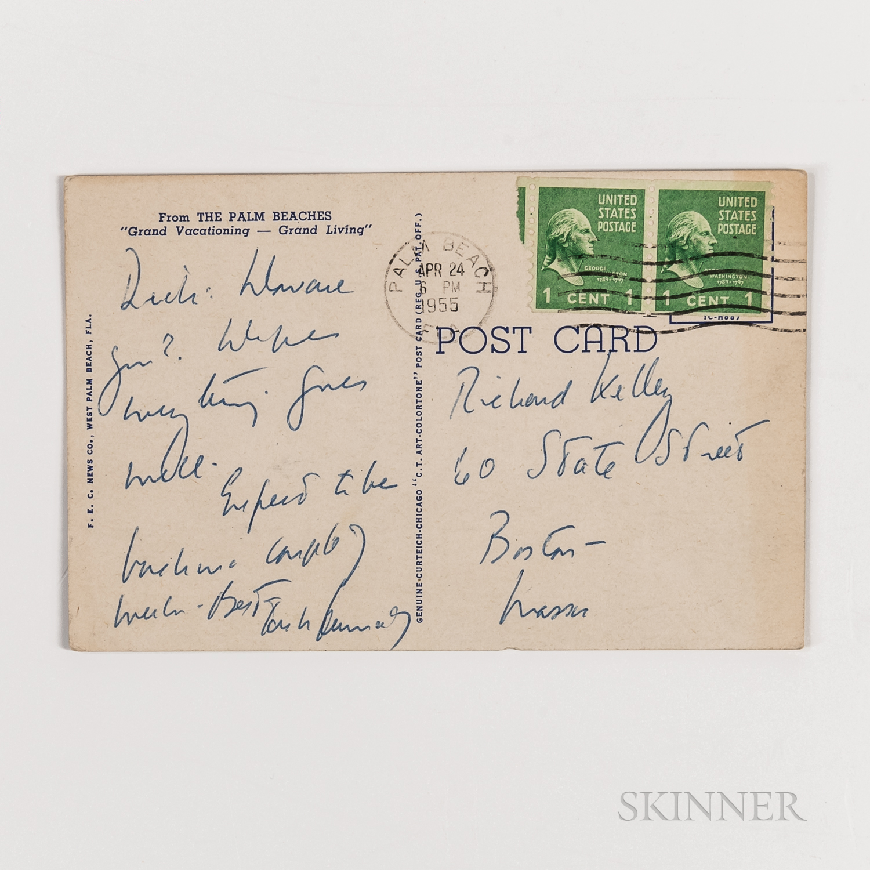 Kennedy, John F. (1917-1963) Inscribed Postcard to Richard Kelley, April 1955.